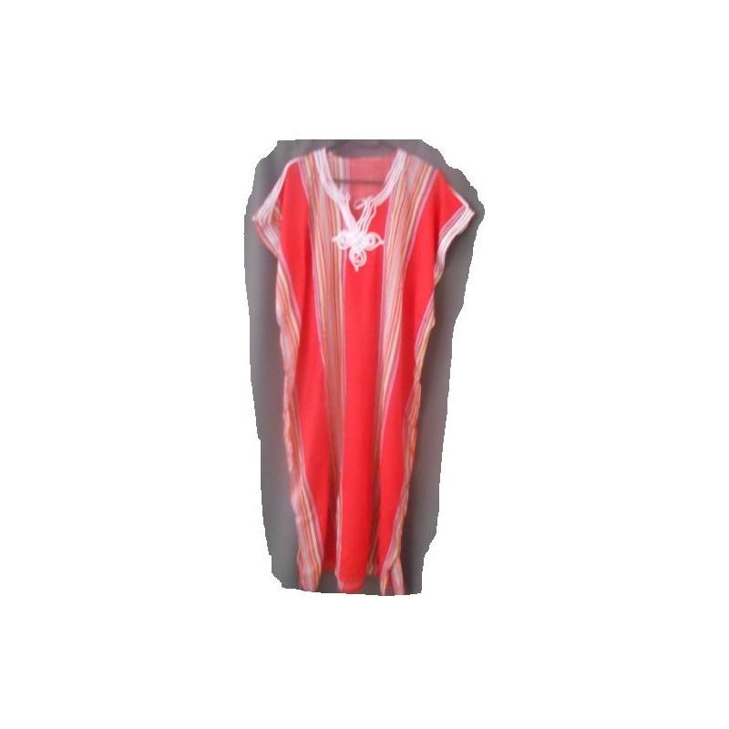 Djellaba rouge à rayures verticales
