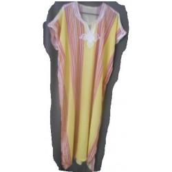 Djellaba jaune à rayures verticales