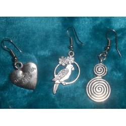 Boucles d'oreilles oiseau, coeur, spirale