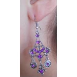 Boucles d'oreilles éventail violette