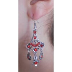 Boucles d'oreilles éventail rouge