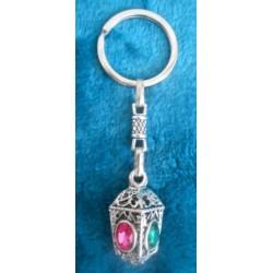 Porte-clés 4 faces : strass rose et vert