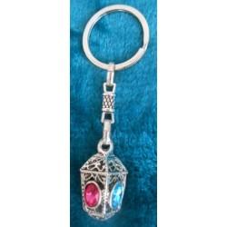 Porte-clés 4 faces : strass rose et bleu