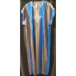 Djellaba bleue à rayures verticales