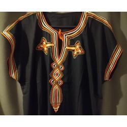 Djellaba noire à motif rose jaune orange motifs
