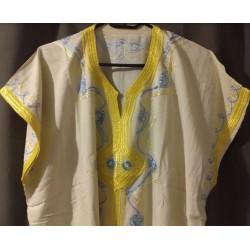 Djellaba beige clair à motif bleue jaune motifs