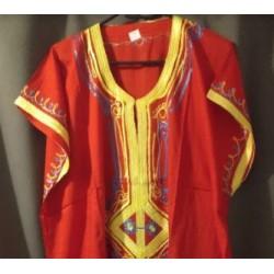 Djellaba rouge à motif bleu jaune taille 3 motifs