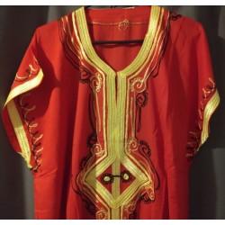 Djellaba rouge à motif noir jaune motifs