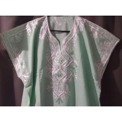 Djellaba vert clair à motif blanc vert taille 1 motifs