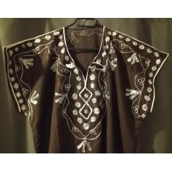Djellaba marron à motif blanc marron motifs