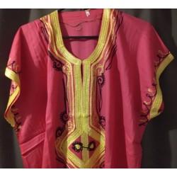 Djellaba rose à motif jaune noir taille 2 motifs